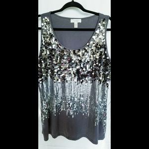 Dress Barn Ombre Sequined Tank Top